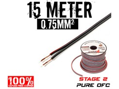 0,75mm² OFC Højttalerkabel, 15 mtr