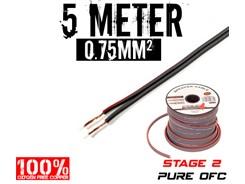 0,75mm² OFC Højttalerkabel, 5 mtr
