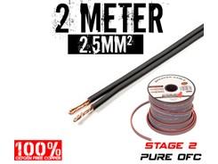 2,5mm² OFC Højttalerkabel, 2 mtr
