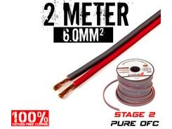 6mm² OFC Højttalerkabel, 2 mtr