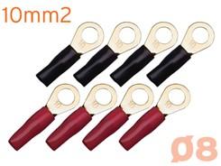 Ringkabelsko 10mm², 8 stk, Rød/Sort - M8