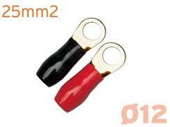 Ringkabelsko 25mm², 2 stk, Rød/Sort - M12